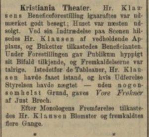 Dagbladet Theater anmeldese tirsdag 5. juni 1884