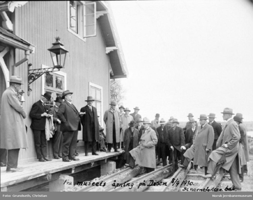 Fra jernbanemuseets åpning på Disen, dis.ch Just Broch (Norsk Jernbanemuseum)